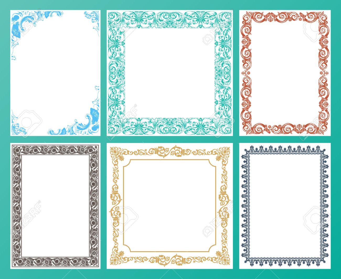 Vector Color Set. Ornate Frames And Vintage Scroll Elements ...