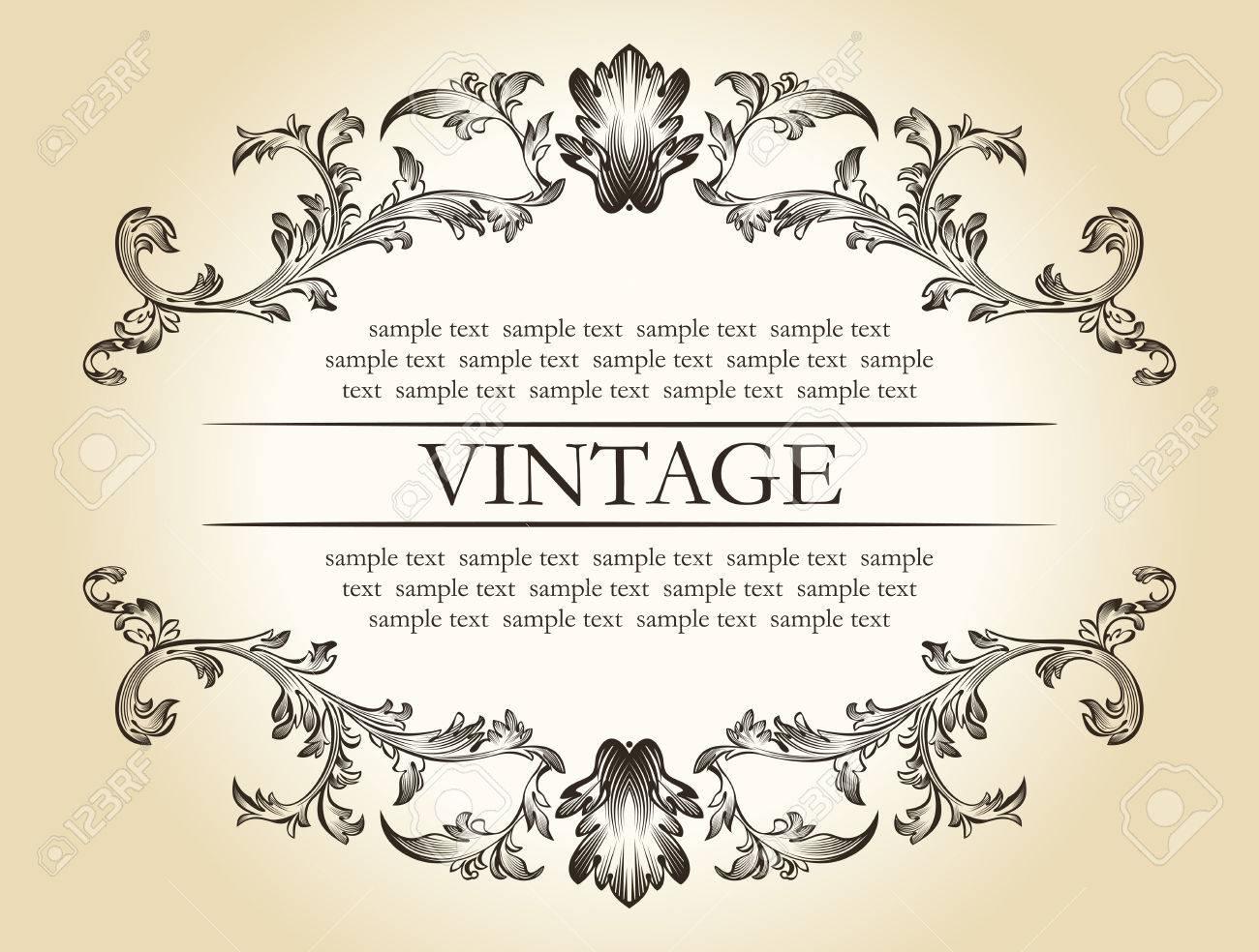 Vector Vintage Royal Rétro Ornement Cadre Texte Décoration