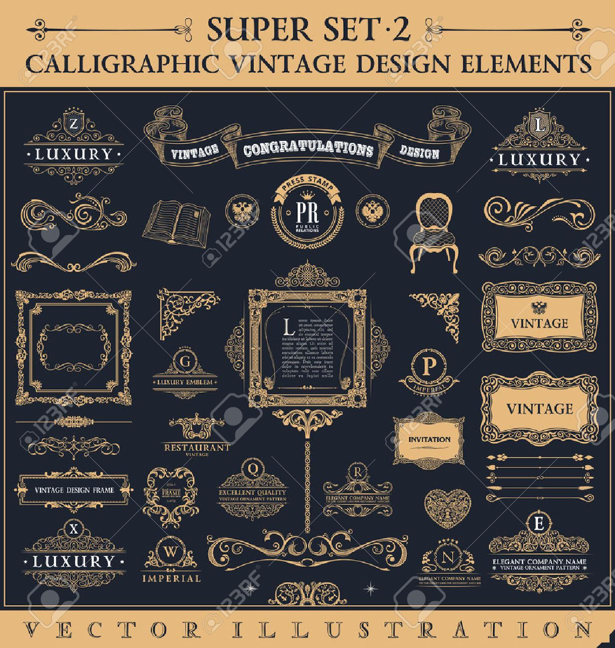 Calligraphic icons vintage elements. Vector baroque logo set. Design elements and page decoration. Border frames collection royal ornament Stock Vector - 42736755