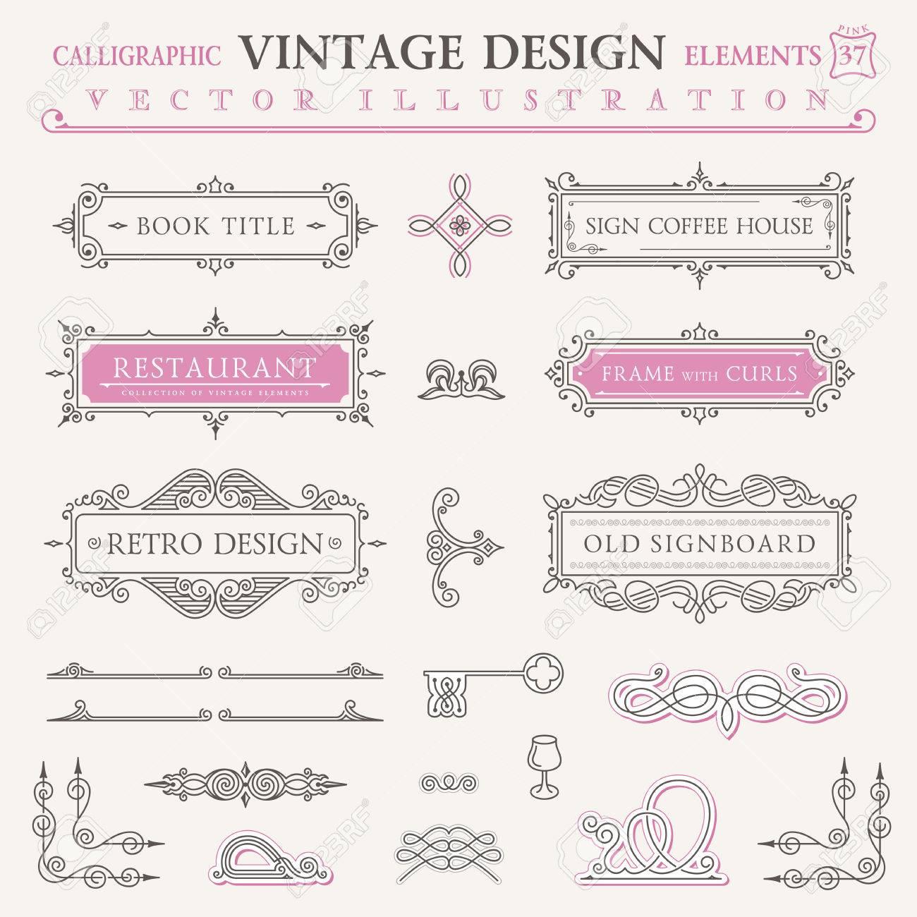 Iconos Elementos Caligráficos Del Vintage. Conjunto Del Barroco ...
