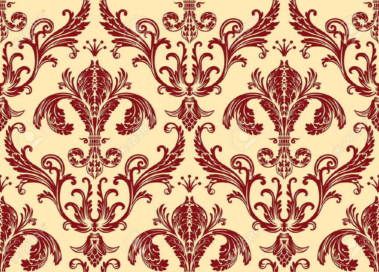 Background Antique Seamless Wallpaper. Red Decor Vintage Royalty ...
