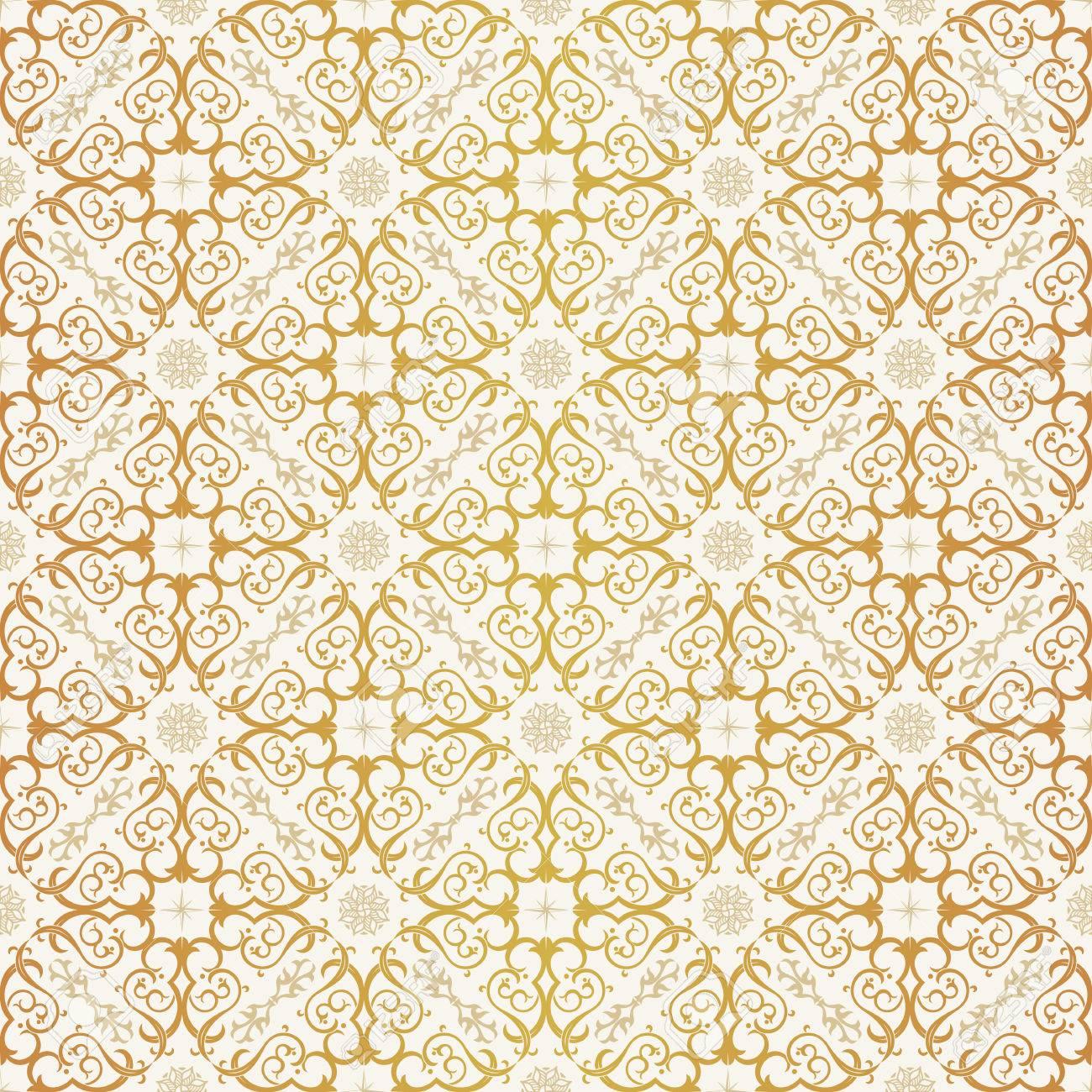 Nahtlose Hintergrund Im Arabischen Stil Gold Und Weise Tapete Mit Mustern Fur Design Traditionelle