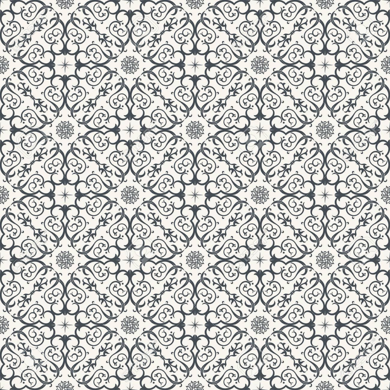 Arrière Plan Transparent Dans Le Style Arabe. Papier Peint Noir Et Blanc  Avec Des