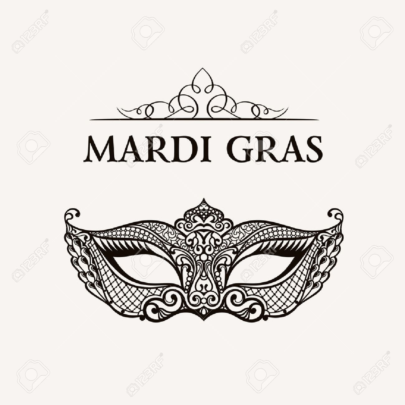 Beautiful Mask Of Lace. Mardi Gras Vector Background. Gold And ...