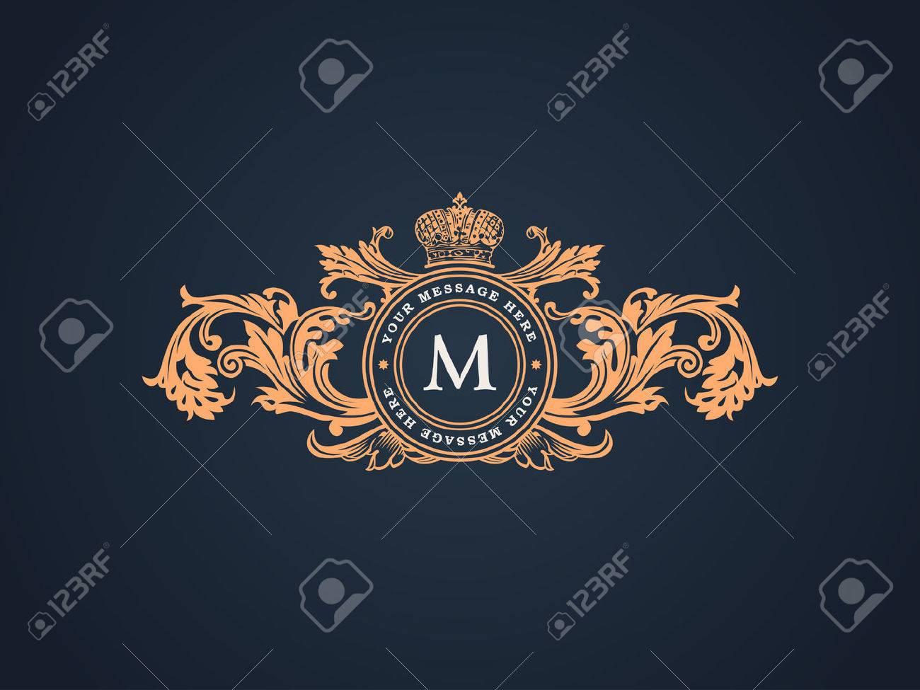Vintage Decorative Elements Flourishes Calligraphic Ornament. Elegant emblem template monogram luxury frame. Floral royal line logo design. Vector illustration Business sign, identity for restaurant, boutique, heraldic, jewelry, fashion, cafe, hotel - 51828709