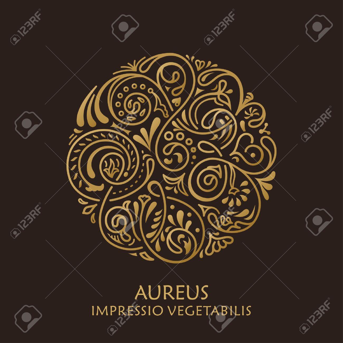 Round calligraphic emblem. Vector floral symbol for cafe, restaurant, shop, print, stamp. Logo design template label for coffee, tea, mug, business card. Isolated ornament - 51830398