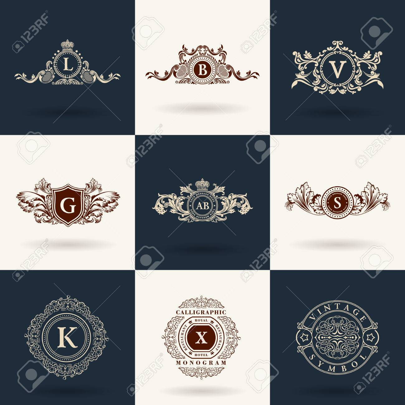 Luxury monogram. Vintage royal flourishes elements. Calligraphic symbol ornament. - 52984534