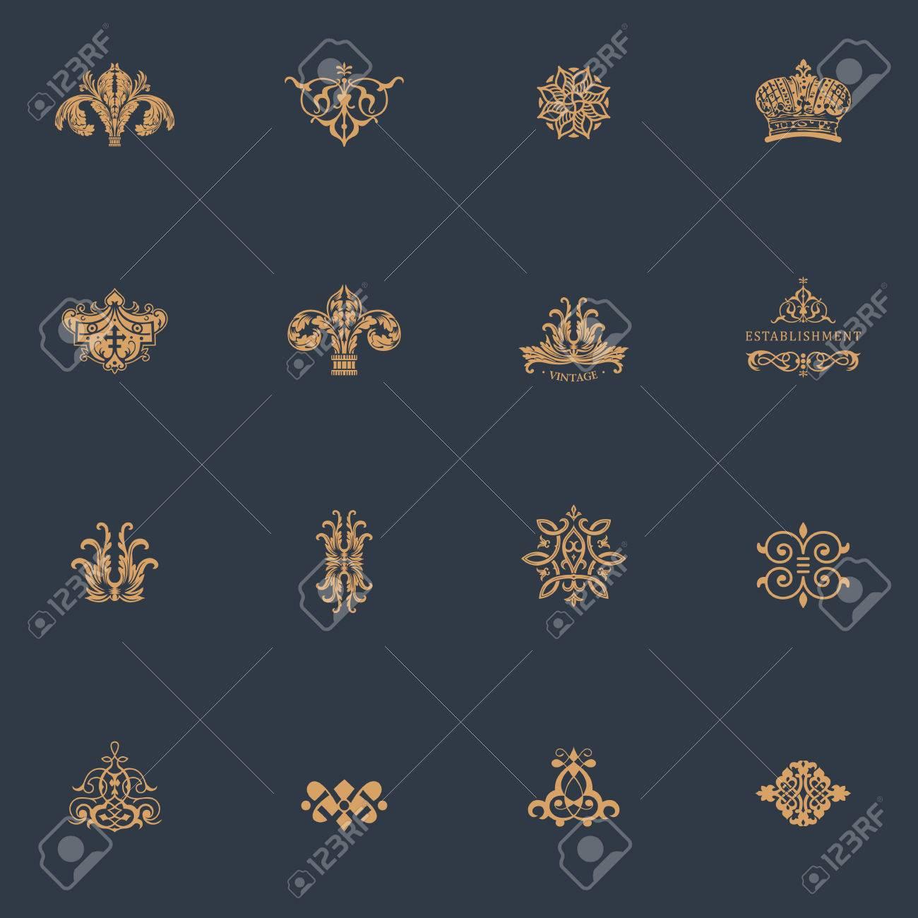 Luxury vintage logo set. Calligraphic emblems and elements elegant decor. Vector ornament for letter - 55350120