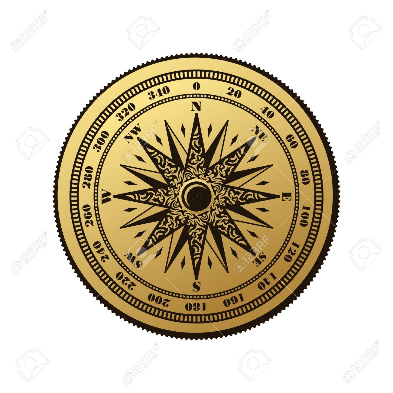 Antique Nautical Compass Rose