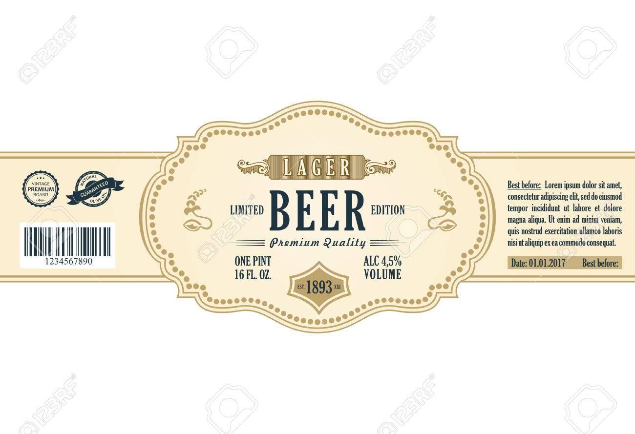 Vintage-Rahmen-Label. Gold-Aufkleber Flasche Bier. Design For Label ...