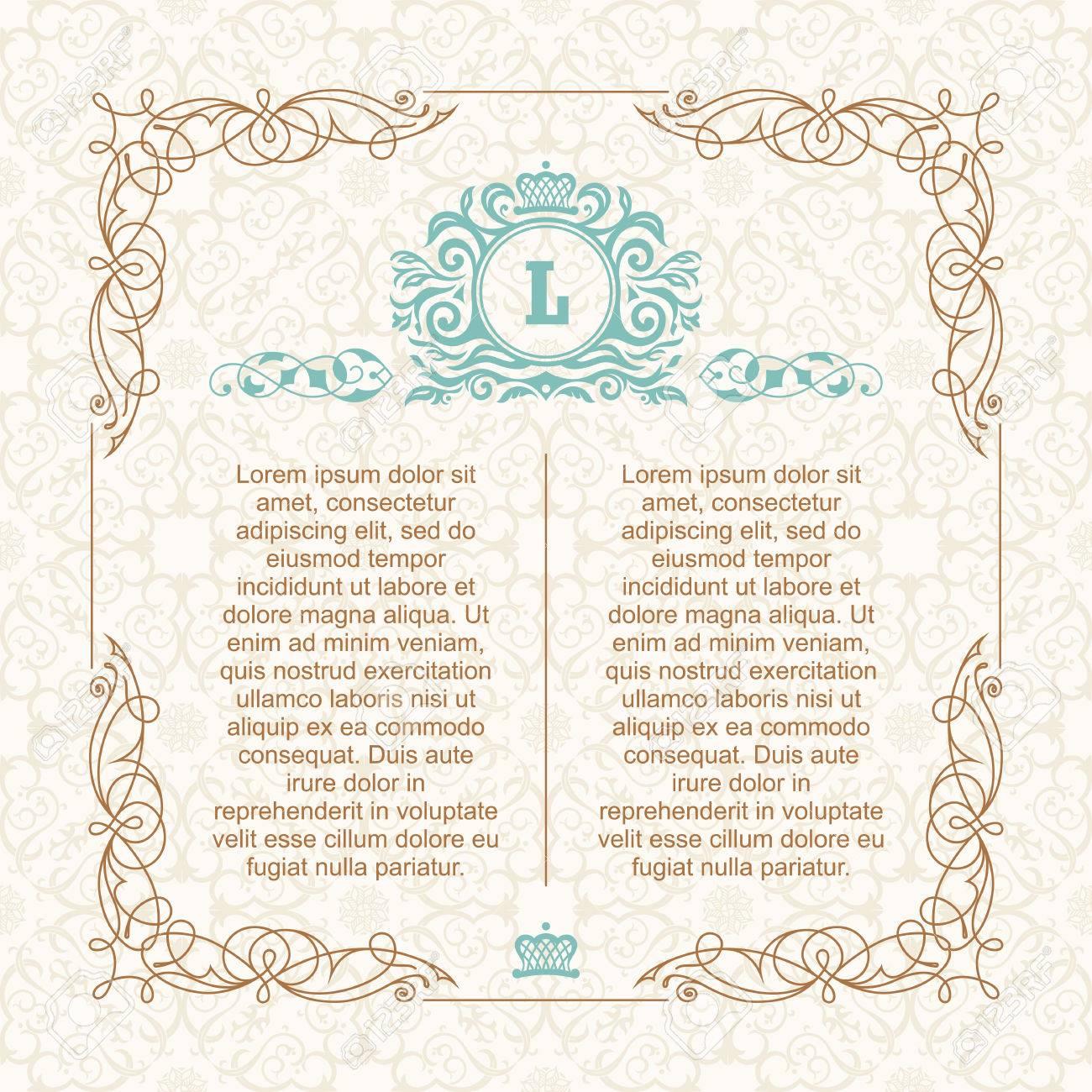 Calligraphic border frame design template for wedding greeting design template for wedding greeting card invitation menu label m4hsunfo