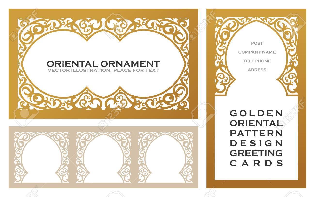 Eastern Set Gold Line Frames For Design Template Elements Art