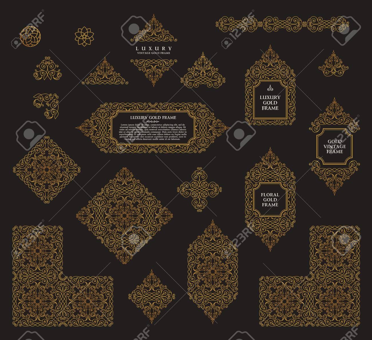 Arabic vector set of frames and lines of art design template arabic vector set of frames and lines of art design template muslim gold outline elements stopboris Choice Image