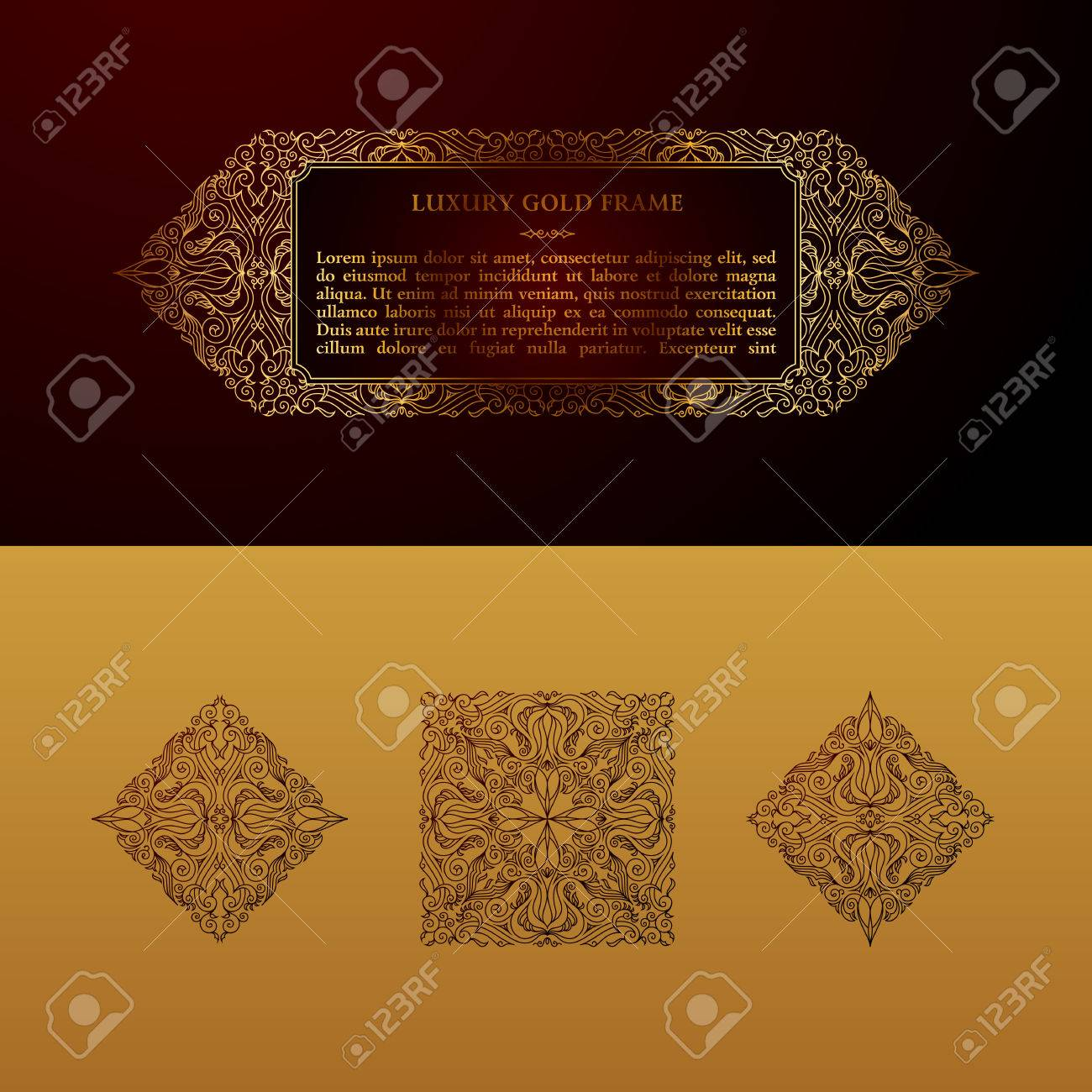 Eastern Gold Frame Arabic Vector Lines Design Templates Muslim