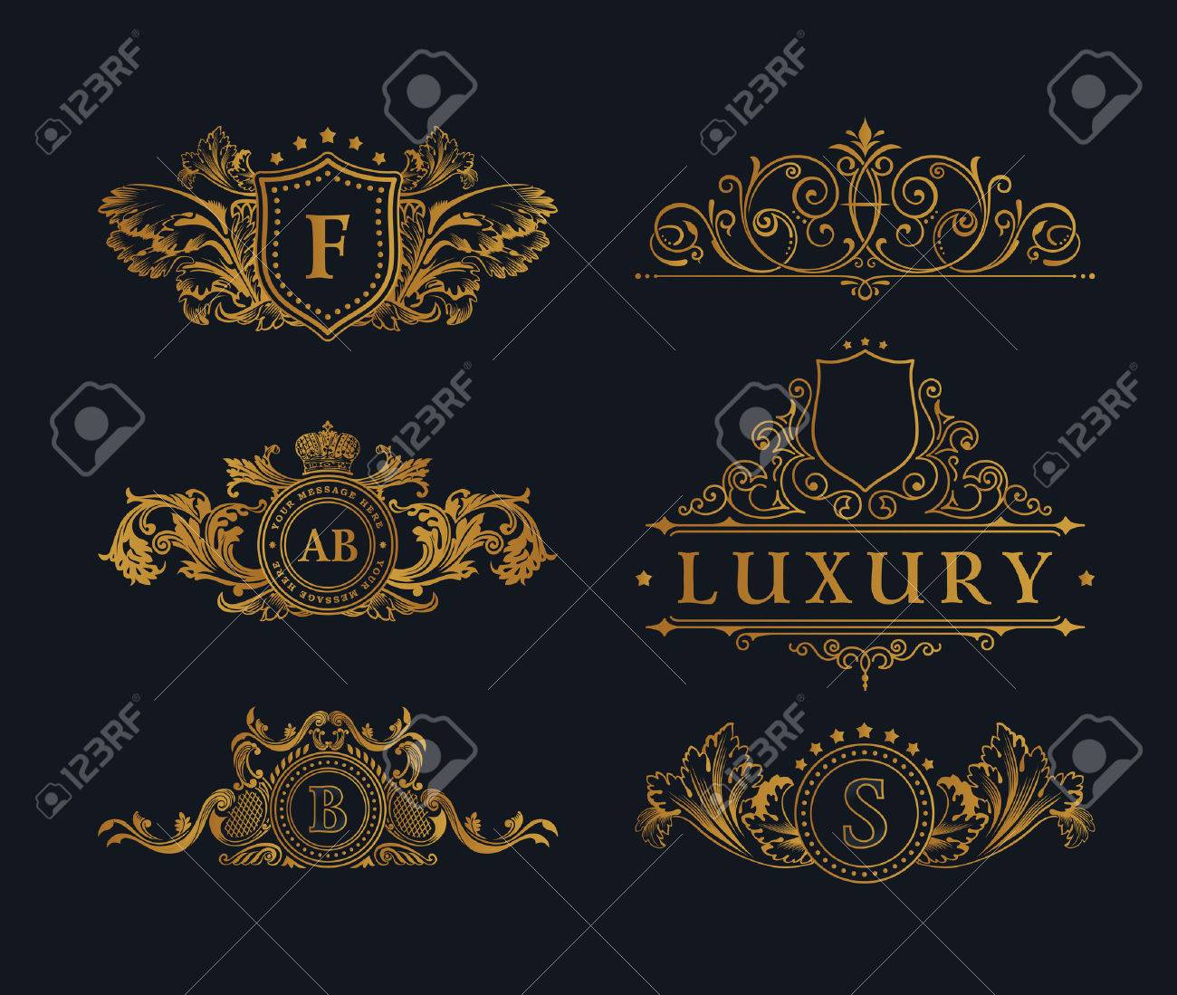 Vintage gold Elements. Flourishes Calligraphic Ornament. Elegant emblem monogram luxury . Floral royal line design. sign, restaurant boutique, heraldic fashion, cafe hotel - 59914306