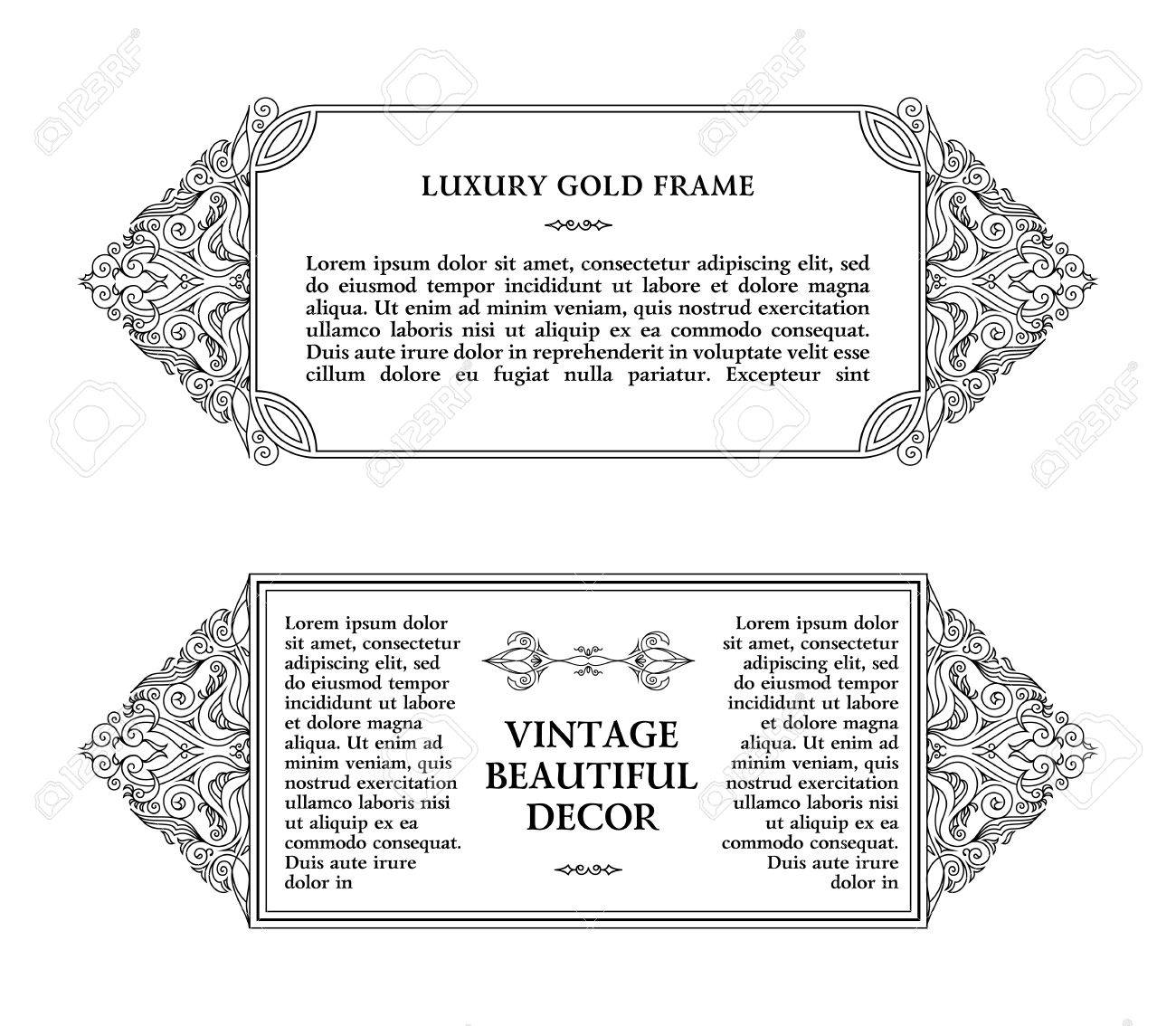 Eastern Gold Frame Arabic Lines Design Templates. Muslim Eastern Floral  Frame For Card And Postcard  Eid Card Templates