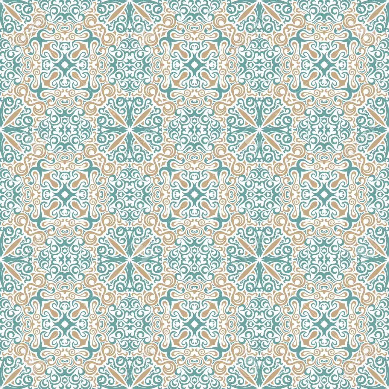 Vintage Floral Background Vector Islamic Royal Gold And Blue Pattern