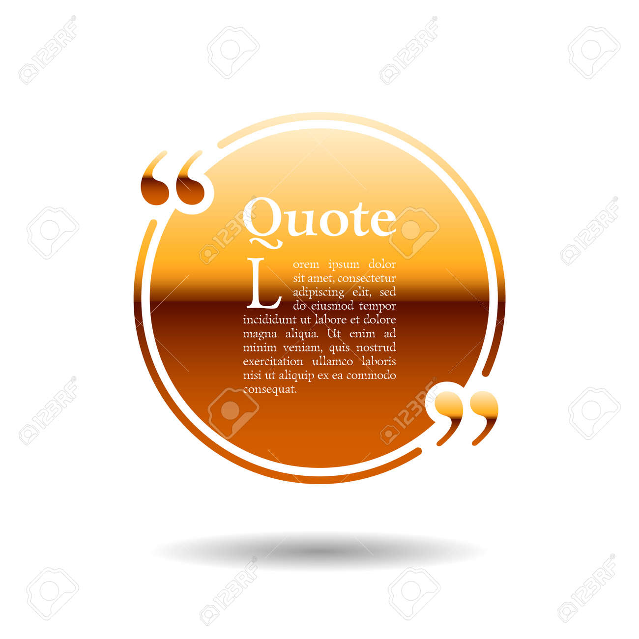 Quote empty text bubble. Frame ball is round gold - 124891948