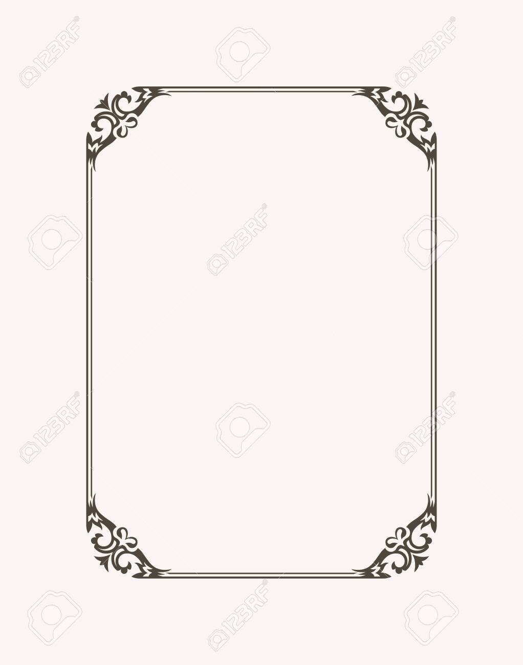 Vintage calligraphic frame. Black and white vector border of the invitation, diploma, certificate, postcard. Empty blank and place for text. - 122725306