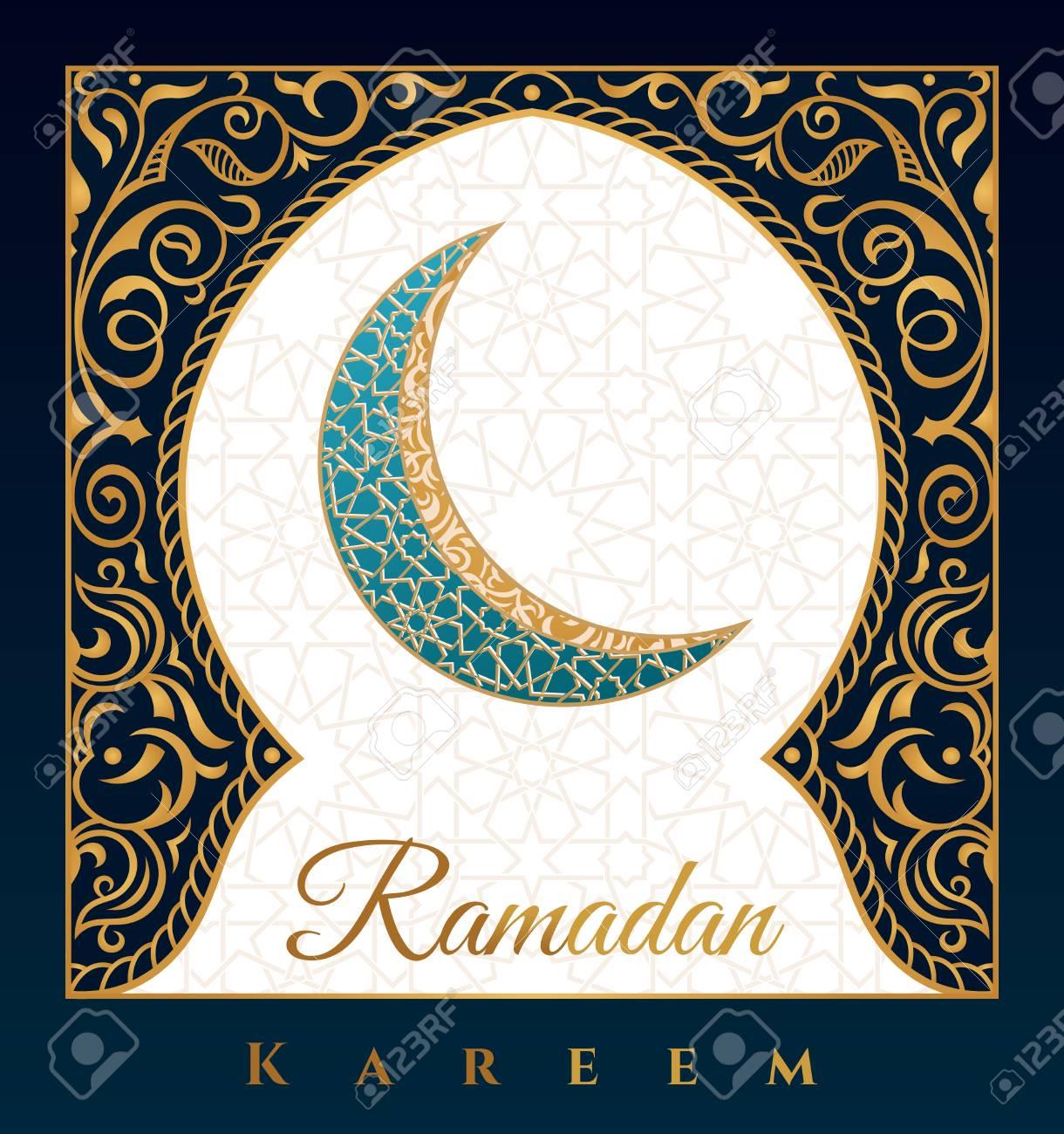 Ramadan Kareem greeting background islamic symbol crescent with