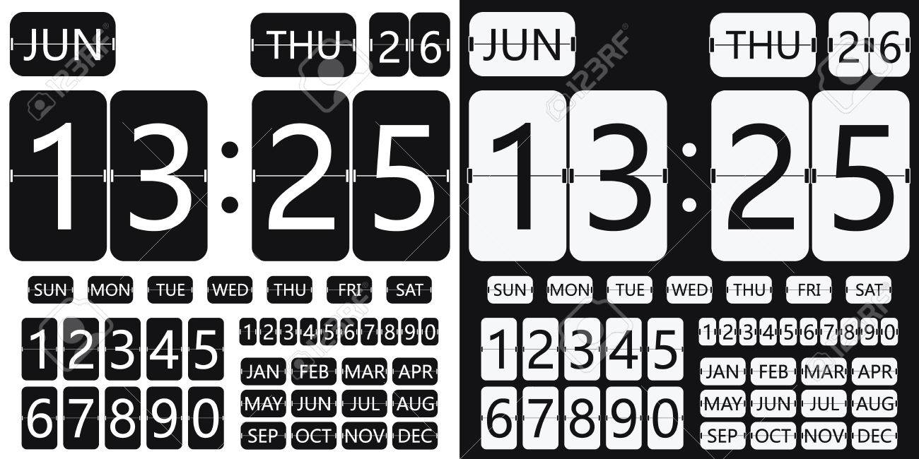 flip clock calendar, flat design, flip timer, table clock, flat