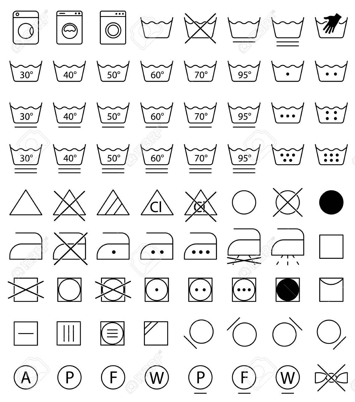 Laundry icons washing symbols royalty free cliparts vectors and laundry icons washing symbols stock vector 75982951 biocorpaavc Image collections