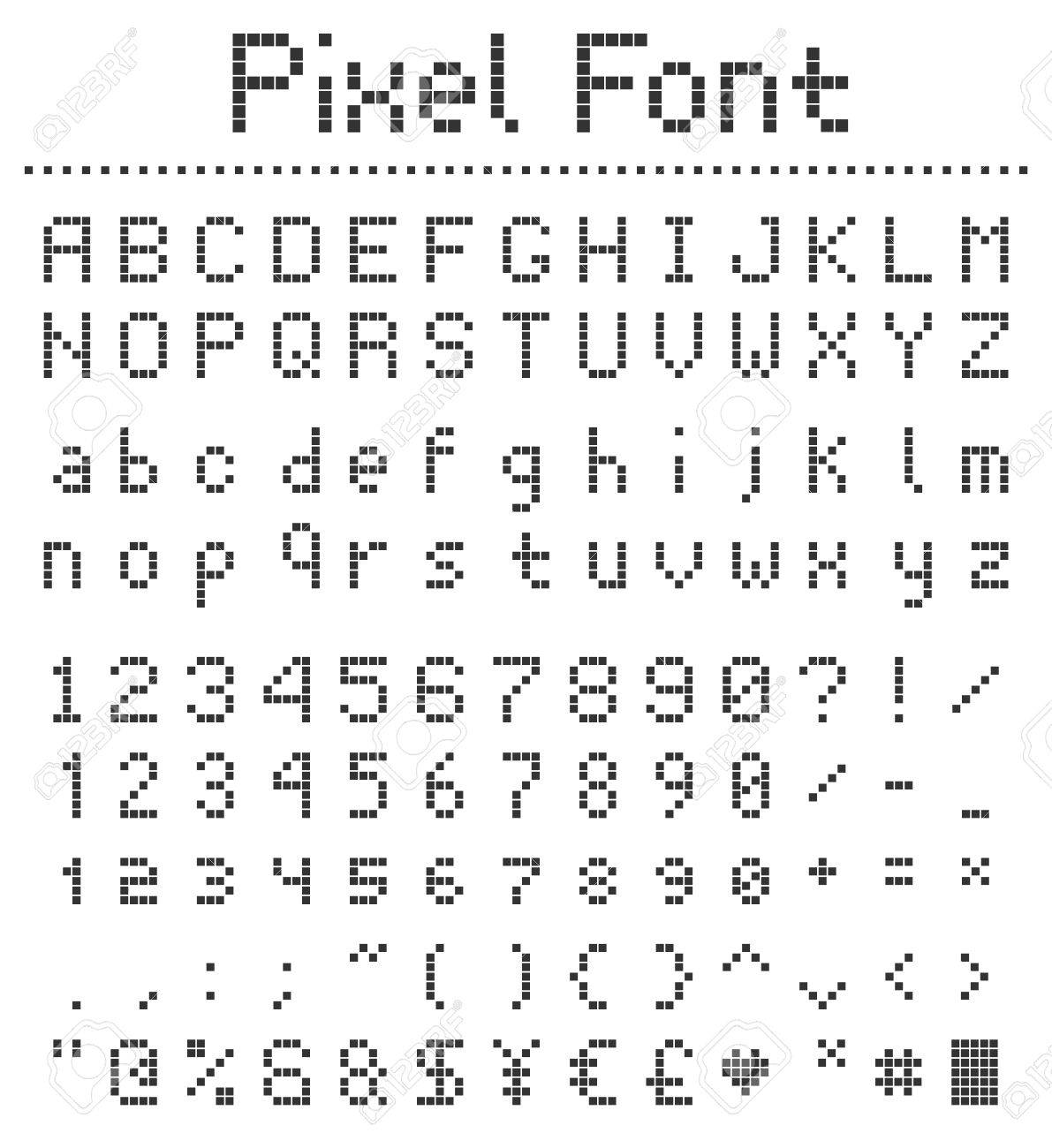 Pixel Square Font Letters Numbers And Punctuation