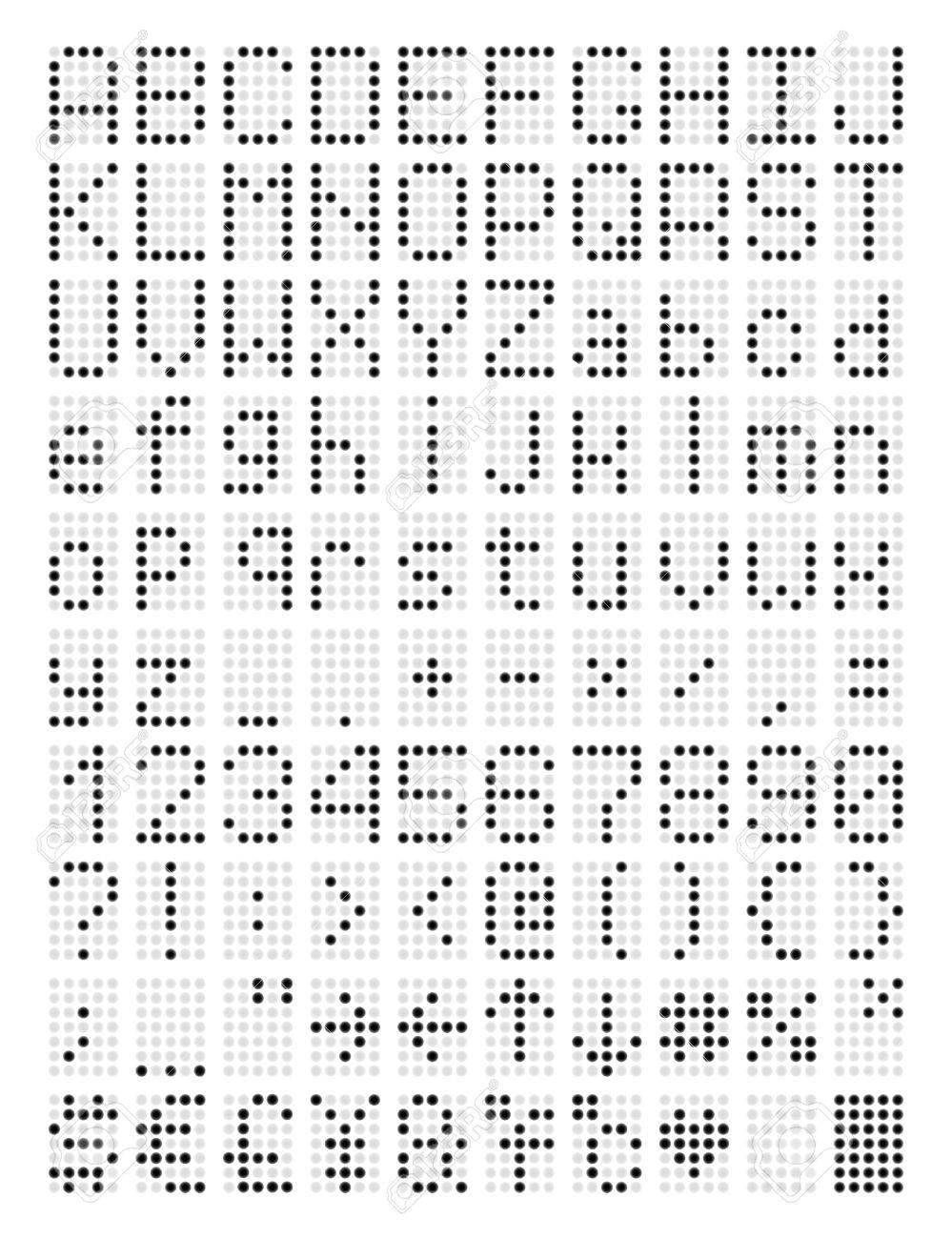 Pixel Led Police Lettres Et Chiffres Numériques