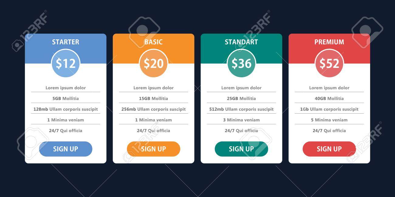 pricing table template for business plan royalty free cliparts