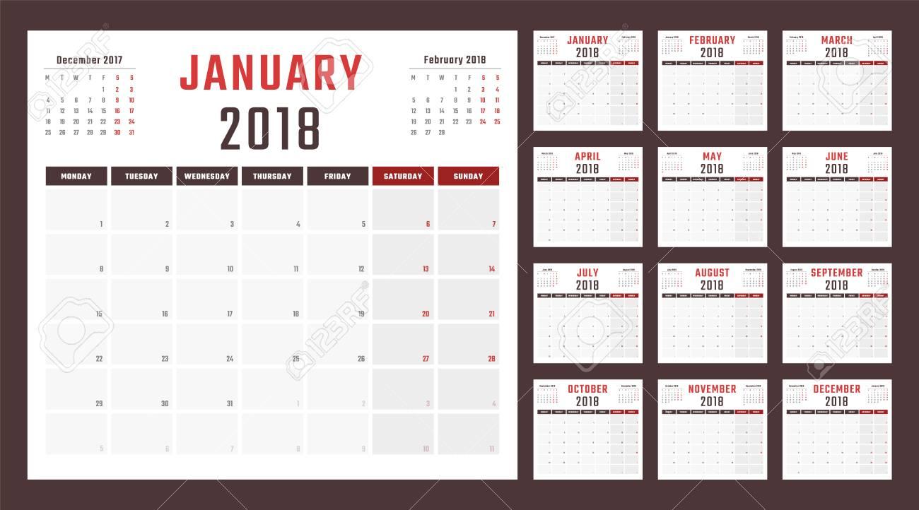 diseño del calendario 2018 año ilustraciones vectoriales clip art