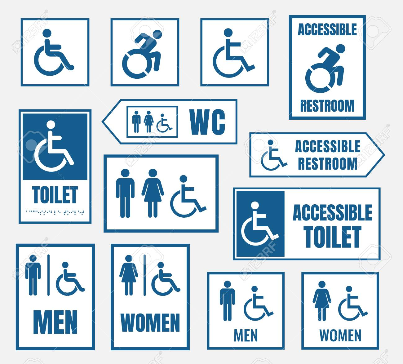 . accessible restroom signs  toilet sign for disabled people