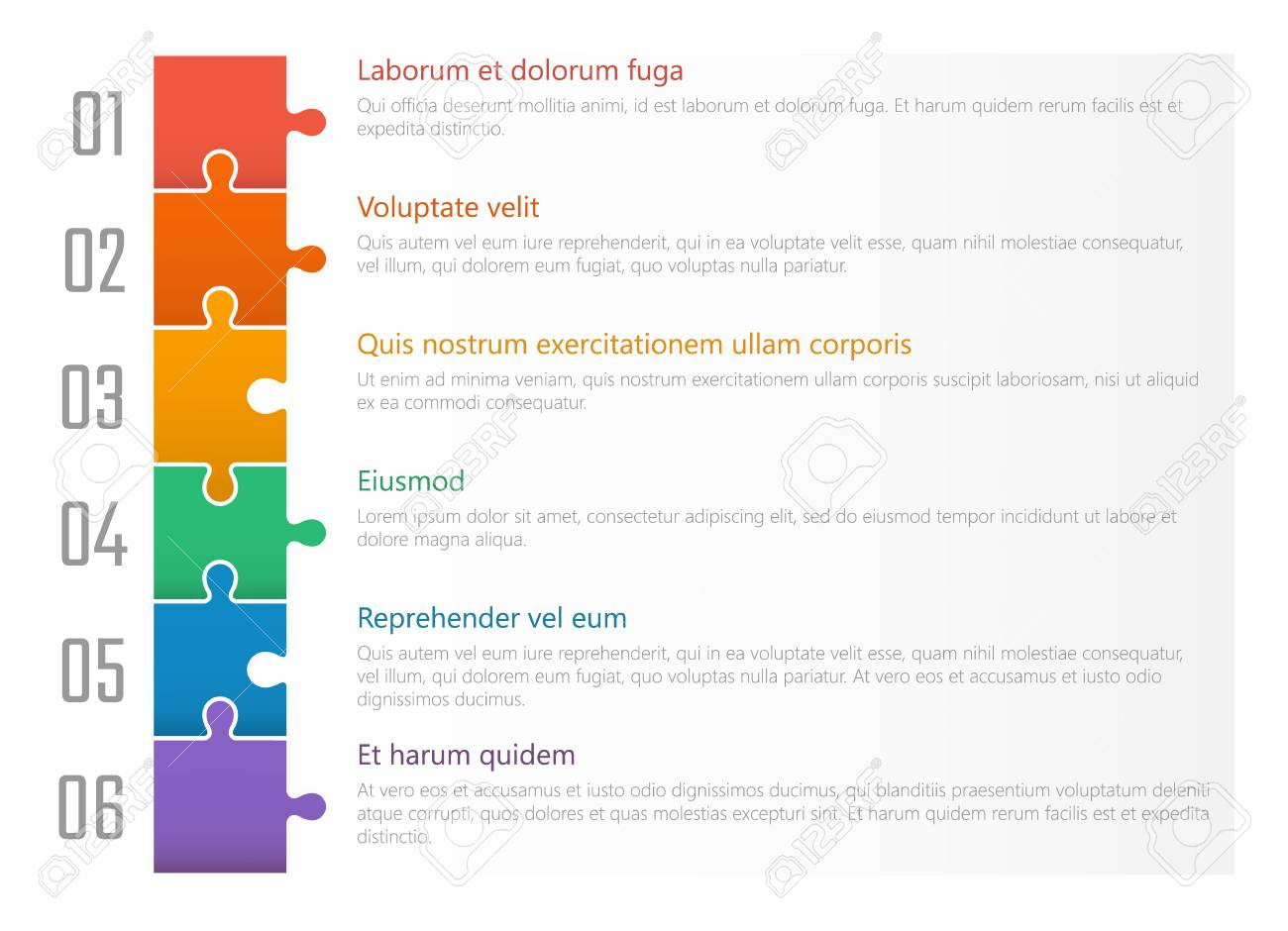 numbered list template, chart table vector design with colorful puzzles - 102255136