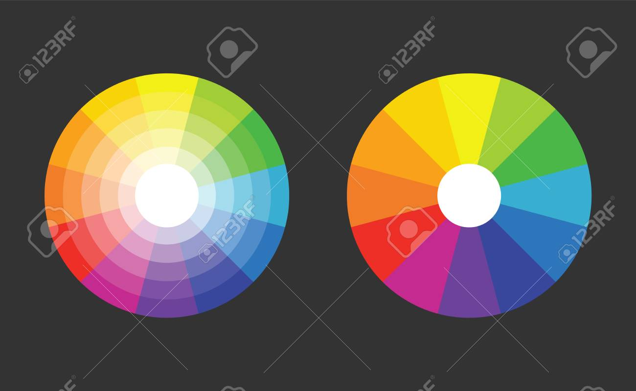 Color Wheel With 12 Colors In Gradiation Royalty Free Cliparts