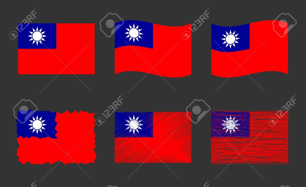 Taiwan flag, Republic of China flag vector images set