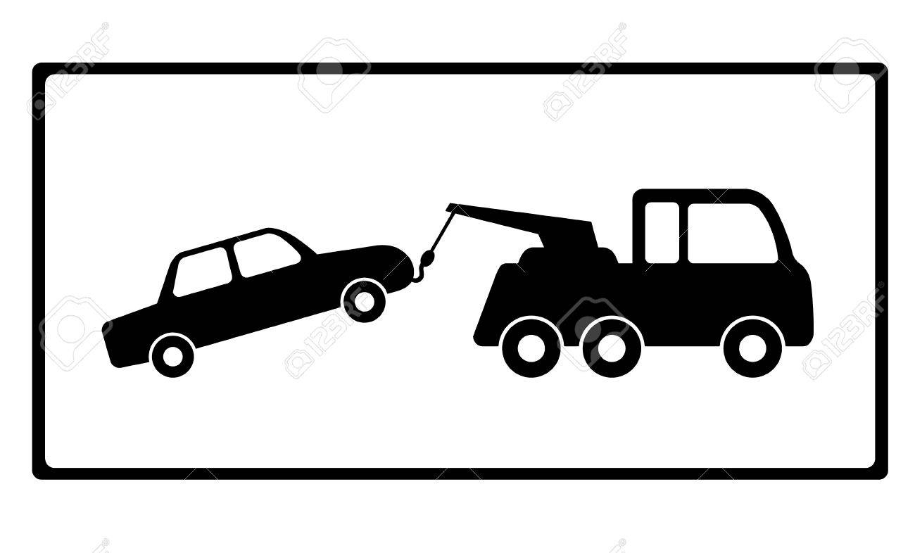 Towing A Car With Vehicle Breakdown Royalty Free Cliparts Vectors