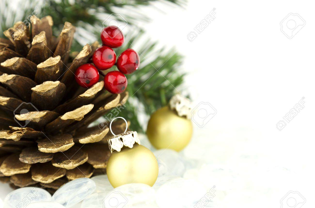 Beautiful seasonal Christmas holiday theme with pine cones and colorful ornaments Stock Photo - 16512949