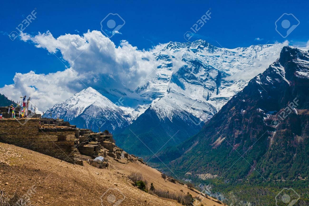 Landskape Photo Tracking Himallaya Vilage Side Hill.View Snow Nepal Mountans Background. Hikking Sport Travel. Horizontal Stock Photo - 63727213