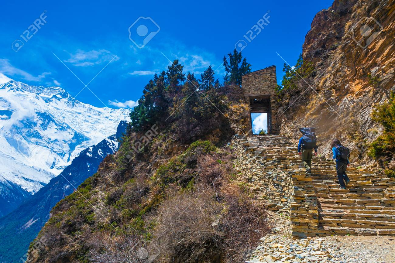 Two Person Backpack Trail Mountains Way.Mountain Trekking Rocks Path Landscape View Background.Hikking Travel Activity.Horizontal Photo Stock Photo - 63727286