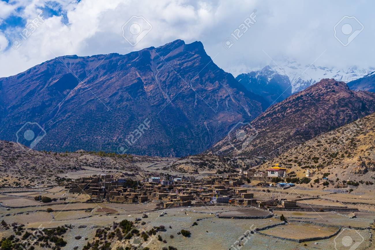 Landscape View Himalays Mountains Village.Asia Nature Morning Viewpoint.Mountain Trekking Photo.Horizontal picture. Hikking Sport Activity Stock Photo - 63727304