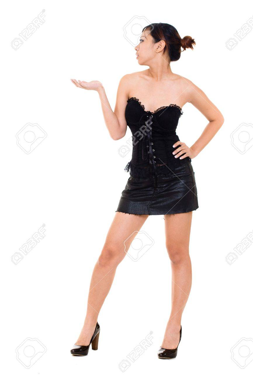 Asian Woman Hand Presenting Something In Sexy Dress Stock Photo 3883281