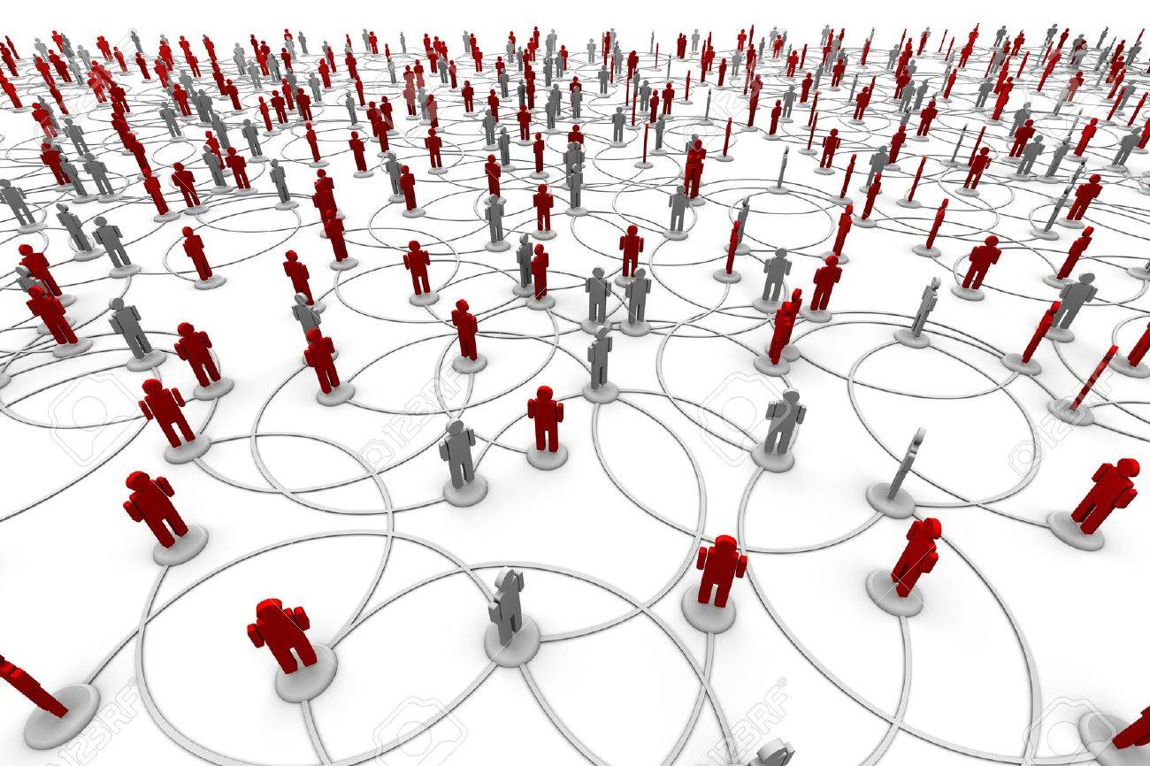 3D illustration of people linked to a network. Stock Photo - 11101308