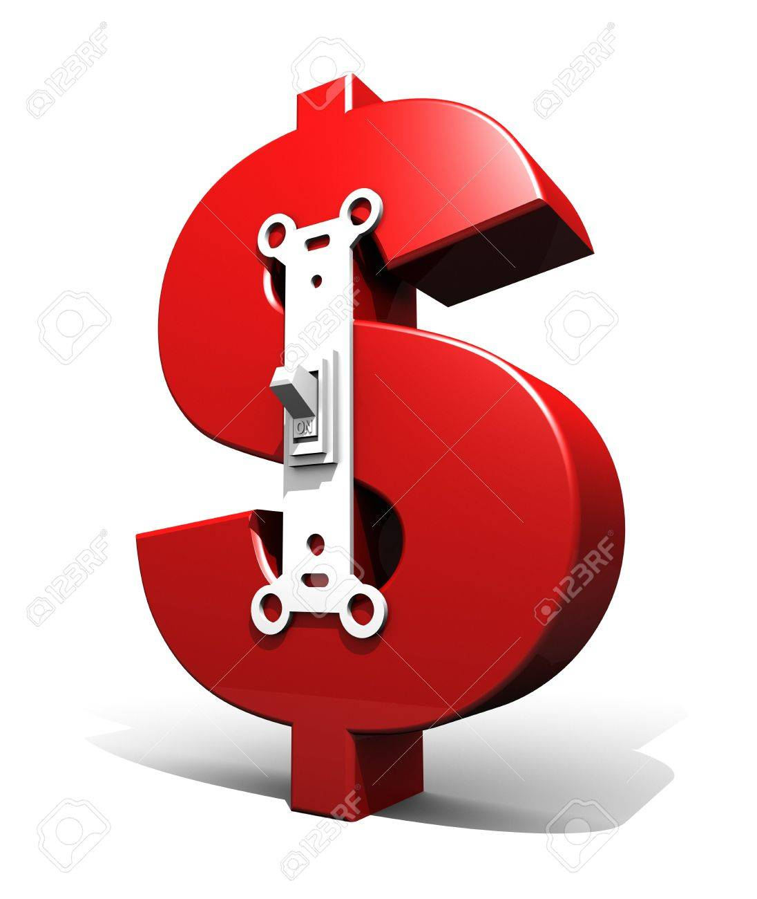3D Render Illustration Of Large Red Dollar Symbol With A Light/power ...