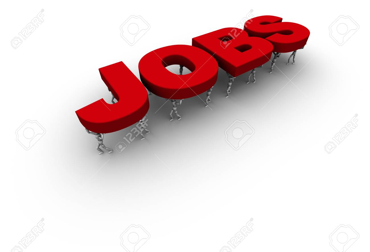 3D mannequins carrying the Word 'JOBS' in red. Stock Photo - 11159258