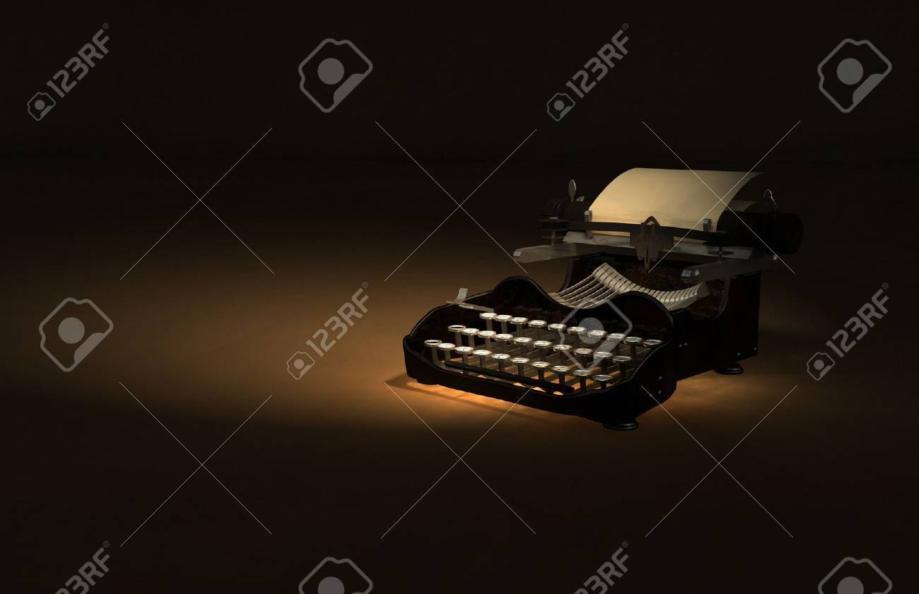 Antique Typewriter 3D Illustration on brown rustic texture backdrop. Stock Photo - 11221455