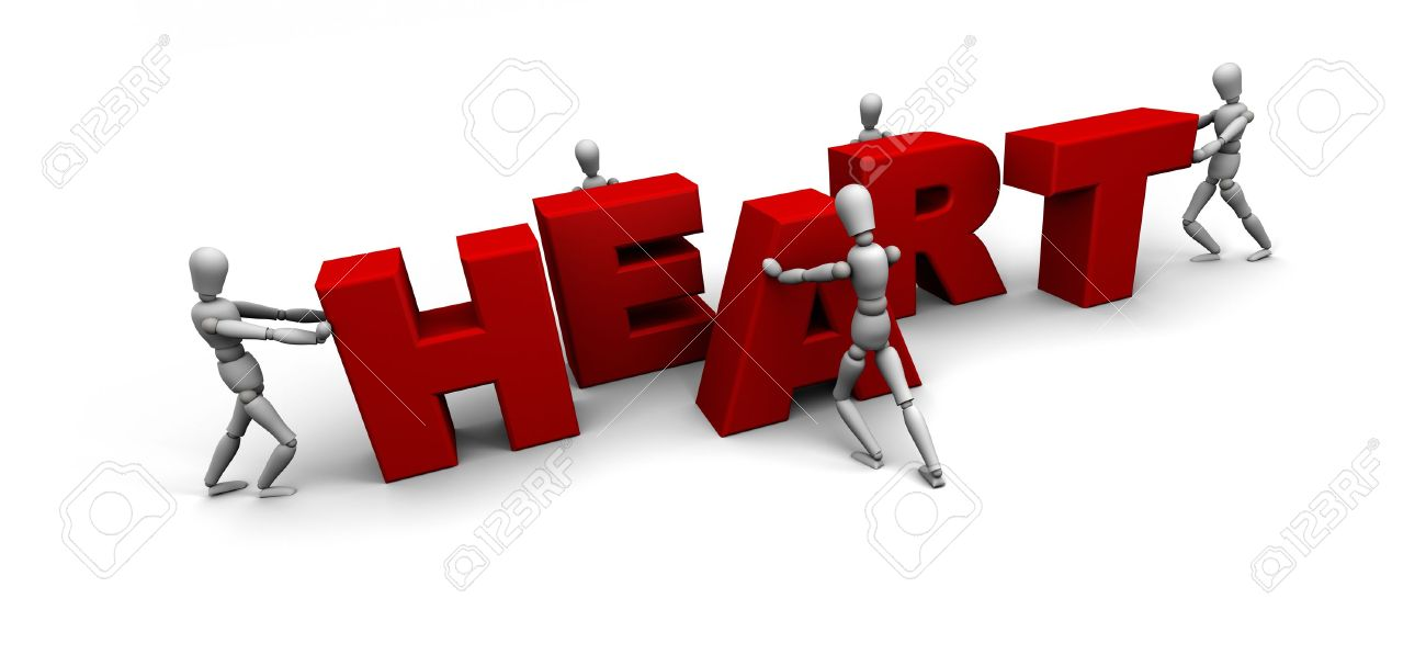 Five 3D mannequins pushing together letters to form the word HEART in red. Stock Photo - 11578855