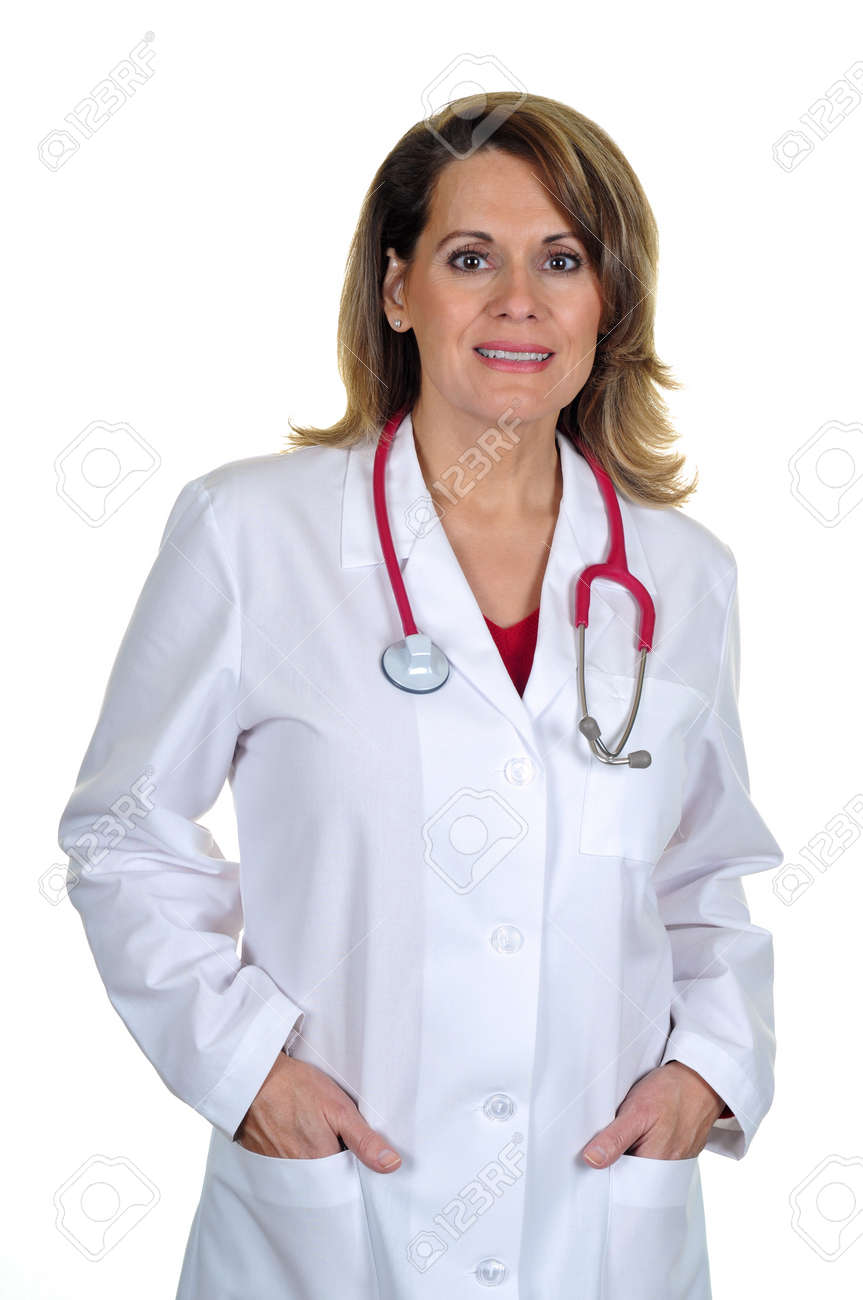 Attractive Female Doctor Wearing Lab Coat Stock Photo, Picture And ...