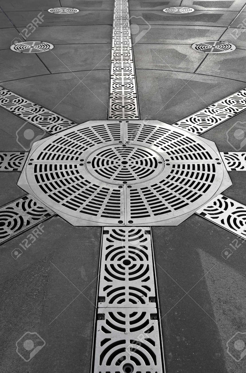 Decorative Metal Grates Decorative Steel Grate Covers On Large Patio Stock Photo Picture