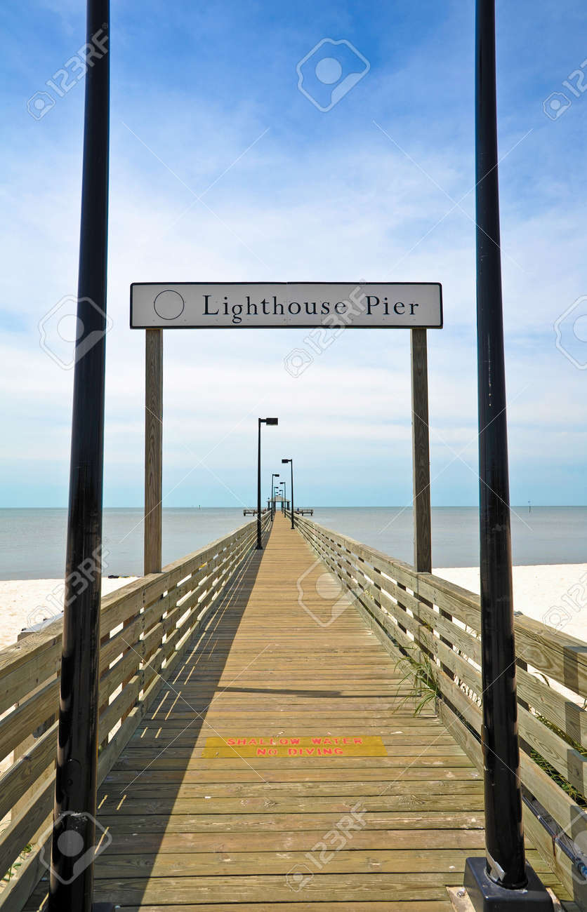 Lighthouse Pier In Biloxi Ms Stock Photo Picture And Royalty