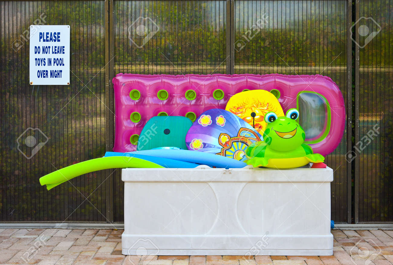 Colorful Inflatible Pool Floats in a storage box on the Swimming..