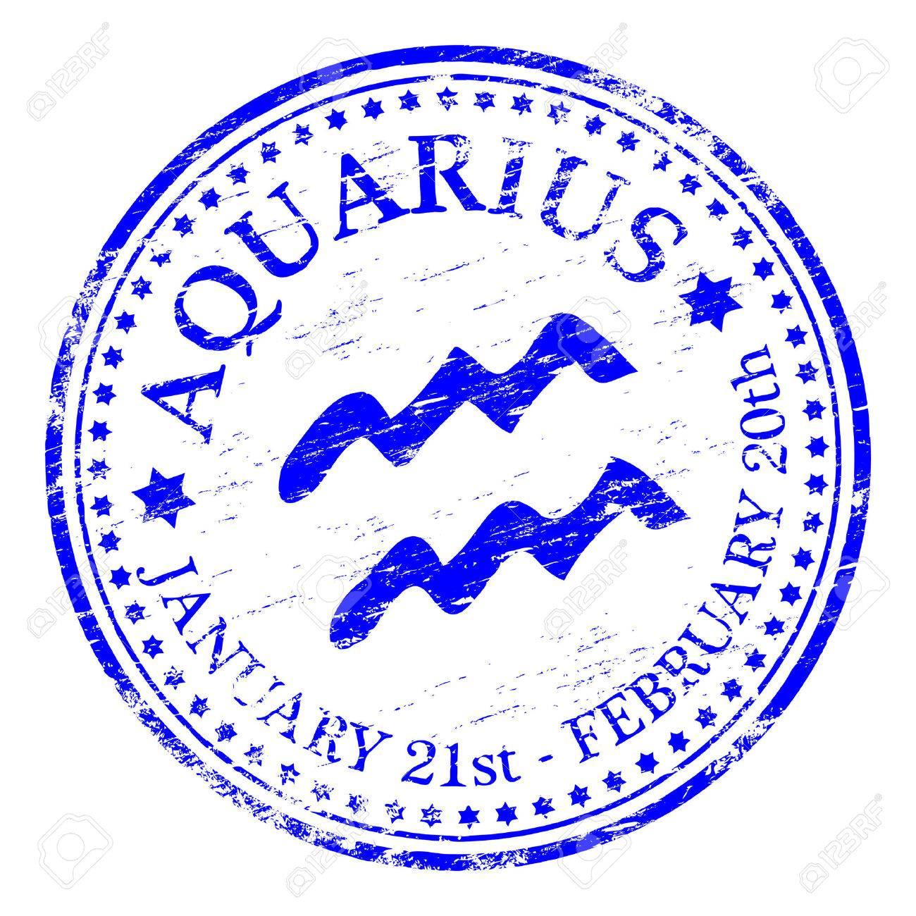AQUARIUS Zodiac Rubber Stamp Stock Vector - 8984889